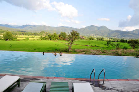 nice accommodations: Pai, mea hong son, Thailand, Foto taken at 30th October 2012 - Tranquil swimming with rice field and mountain view