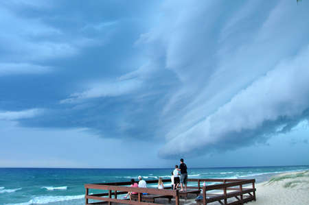 Storm clouds caused by jet stream Stock Photo