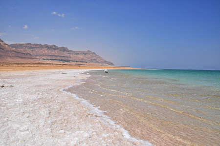 The ever retreating coastline of the salty dead sea Stock Photo - 16750255