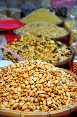 intense flavor: Close up of Peanuts in Thailand street food stall
