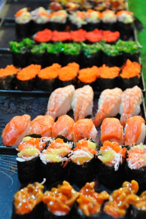 Variety of sushi as Thai street food Stock Photo