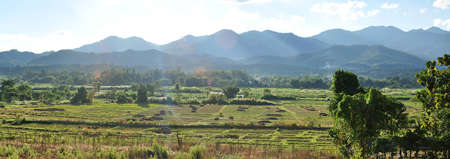 Landscape of Pai and scenery mountain background, Mae Hong Son, Thailand