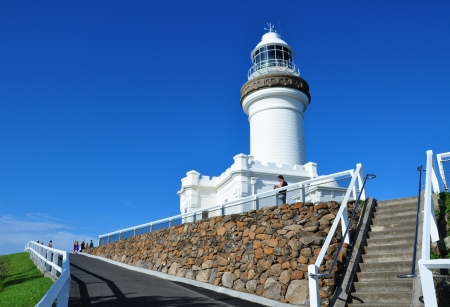 byron: The lighthouse in cape byron Stock Photo