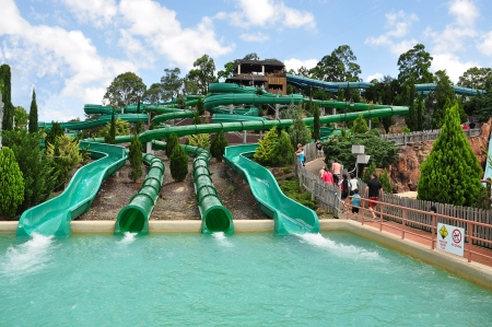Gold Coast, Australia, Photo taken at 19th January 2011-A long run-out chute and a pool in Wet�n �Wild Water World