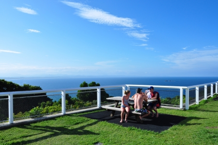 Byron bay Australia, Photo taken at January 2011- Tourists relaxing at cape Byron with beautiful viewpoint and sea horizon on the sunny day