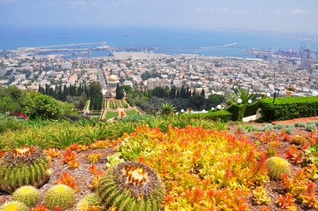 View from mountain top of the harbor city of Haifa with beautiful garden of Bahai temple  photo