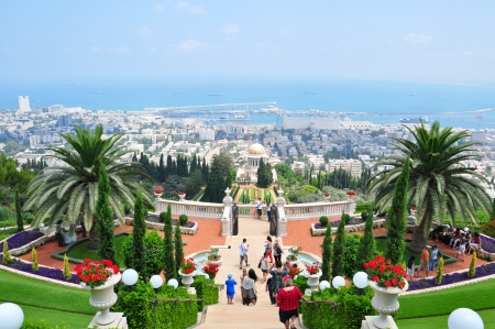 Haifa city, Israel, Photo taken at August 2012-Vistors sightseeing the garden of Bahai temple