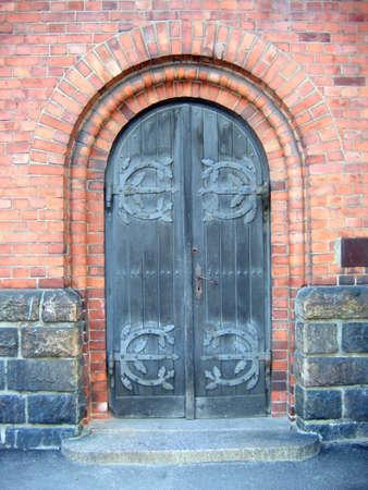 large doors: Door to the church in Riga