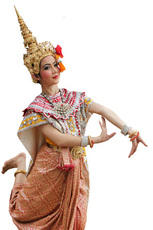 nosering: This is the ancient acting of Khon-Thai classical masked ballet in Thailand Stock Photo