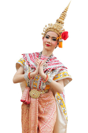 fan dance: This is the ancient acting of Khon-Thai classical masked ballet in Thailand Stock Photo