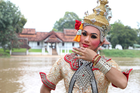 wat bowon: This is the ancient acting of Khon-Thai classical masked ballet in Thailand Stock Photo