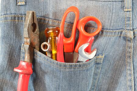 jeans pocket: Tools in jeans pocket jeans.