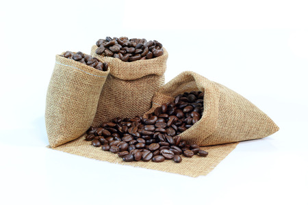 coffee beans with sack on white background 스톡 콘텐츠