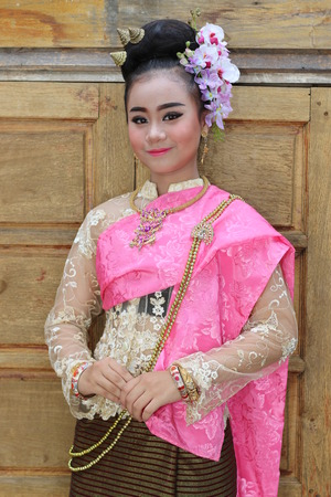 an obeisance: Woman Dressed in Thailand.