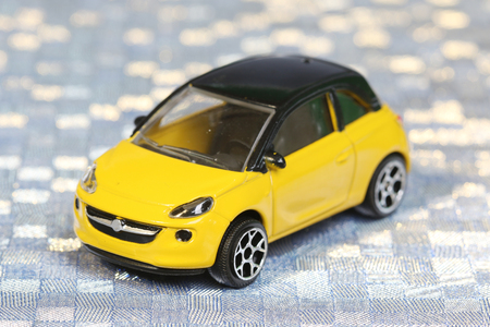 tinted glasses: Yellow toy car Stock Photo