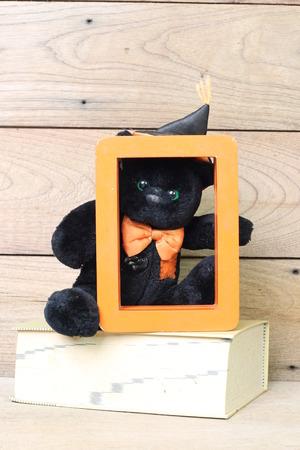 valentine s day teddy bear: Black Bear holds a chest orange frame. Stock Photo