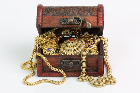 Treasure chest on a white background. Archivio Fotografico
