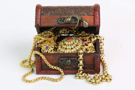 chest: Treasure chest on a white background. Stock Photo