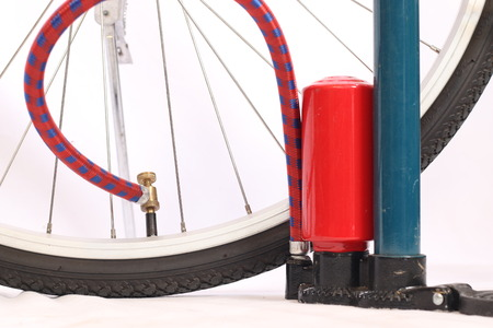 air pump: air pump with bicycle Stock Photo