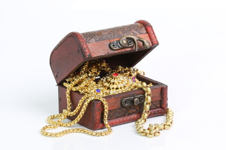 wood box: Treasure chest on a white background. Stock Photo