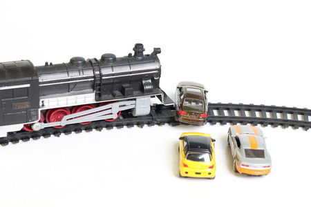derail: Toys toy train collided with a car accident.