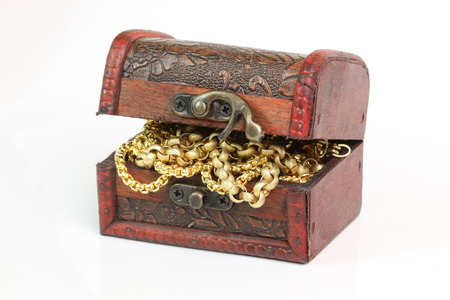 Treasure chest on a white background. Stock fotó