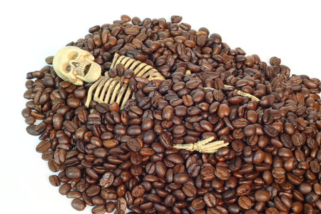 buried: The skeleton was buried in coffee beans.