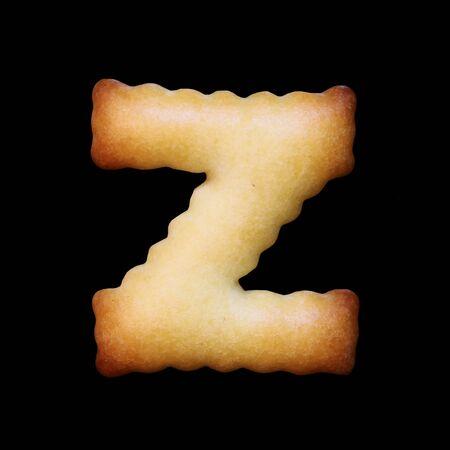 Bread sample letter Z on black background.