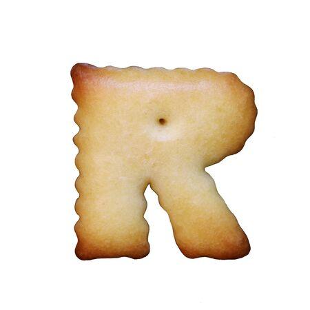 Bread sample letter r on white background.