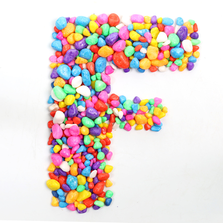 literally: Colored stones arranged in a letter F.