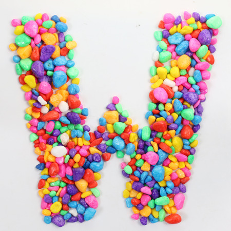 literally: Colored stones arranged in a letter W.