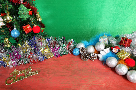 christmas decorations on the wooden floor of red on a green background stock photo - Red And Turquoise Christmas Decorations