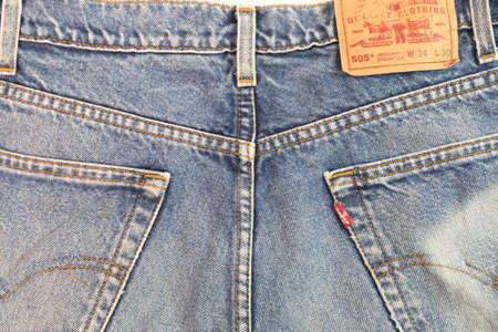 illustrative material: Chiangmai, Thailand -December 22, 2015: jeans Levis old pants-Levis is a brand name , Chiangmai, Thailand.