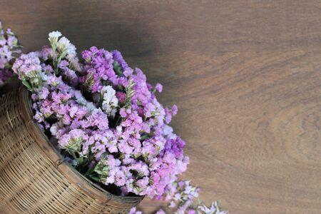 blooming  purple: Beautiful flowers on the wooden floor.