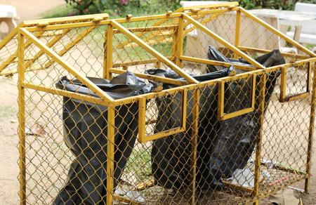 waste basket: Black bag waste basket iron camp