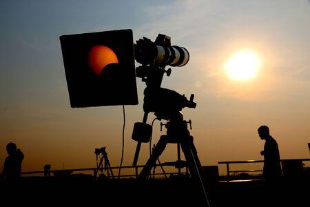 vista de la cámara eclipse solar Foto de archivo