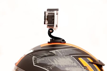 but: But the Action Cam camera on the helmet. Stock Photo