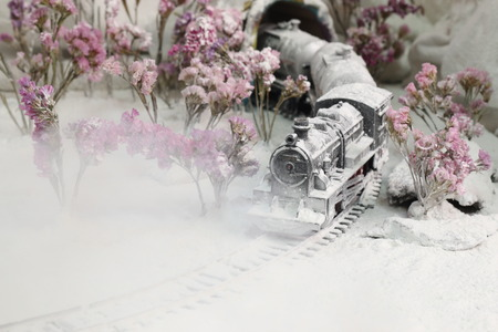 Trains steam head is covered with heavy snow. Stock Photo