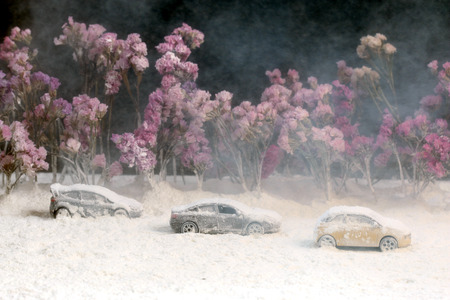 heavy snow: Car on the road with heavy snow.