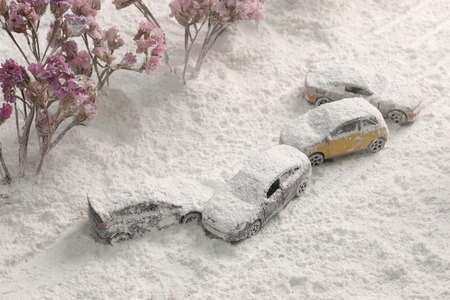 reclaimed: Car Crash reclaimed from the air with heavy snow.