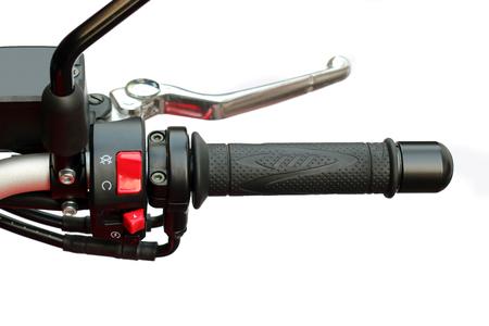 handle bars: Close up of racing motorcycle handlebar isolated on white background. Stock Photo