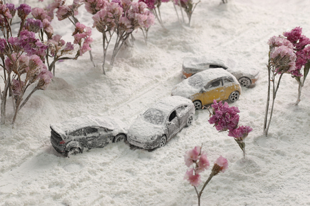 devastating: Car Crash reclaimed from the air with heavy snow.