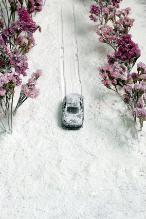is covered: Snow covered the car traffic. Stock Photo