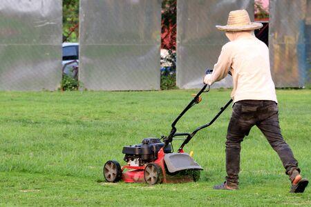 Man cutting grass. Stock Photo