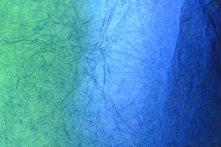 green background texture: Texture of green and blue striped crumpled paper for pattern background Stock Photo