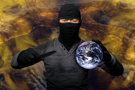 terrorists: Terrorists take the world hostage.Elements of this image furnished by NASA