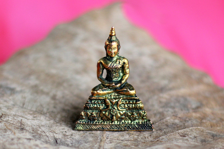 pace: Buddha and Bodhi leaves dry Pink on the wooden floor