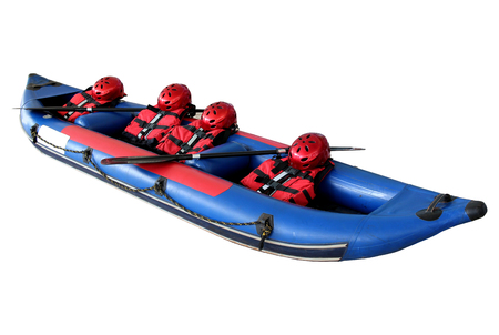 Rubber boats, helmets, life jackets and paddles isolated on white background.