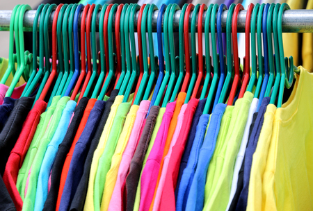 Colorful t-shirts on the hanger