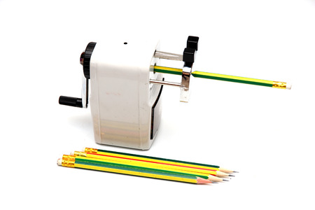 Pencil and pencil Sharpener isolate on white background.